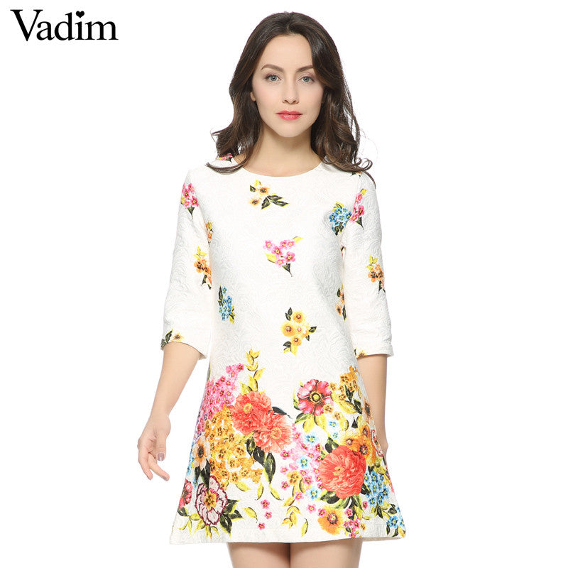 Women's Elegant floral print Dress O neck three quarter - saÿtii
