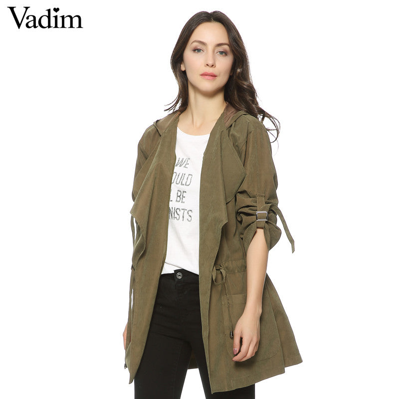 Women hooded long trench casual loose long sleeve solid coats - saÿtii