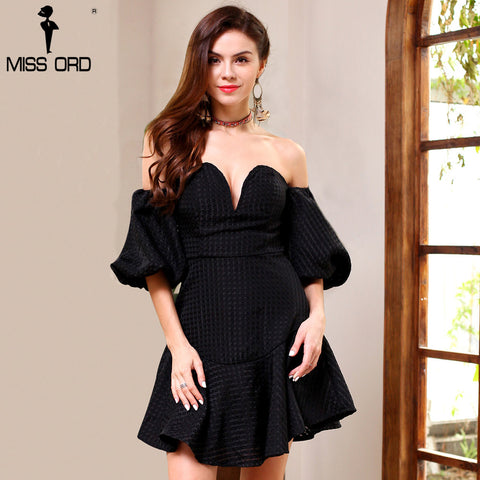 Missord 2017 fashion  V-neck off the shoulder  Lantern sleeve  dress
