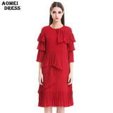 2017 New Summer Red Ruffles Pleat Dress for Women