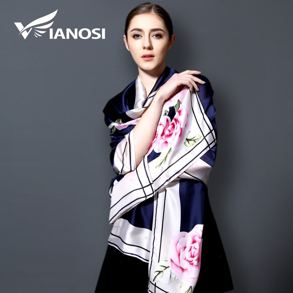 [VIANOSI] 2017 Silk Scarf Fashion bandana Long Shawls Gold Printing Luxury Brand Scarves Women Scarf With Beach