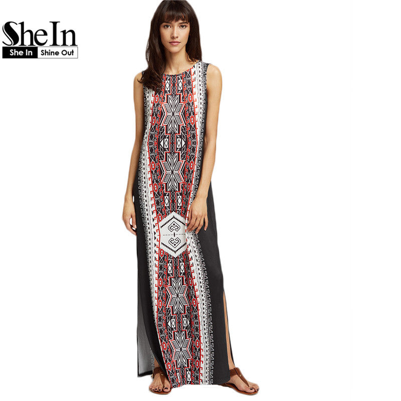 Bohemian Dress Ethnic Print Side Slit