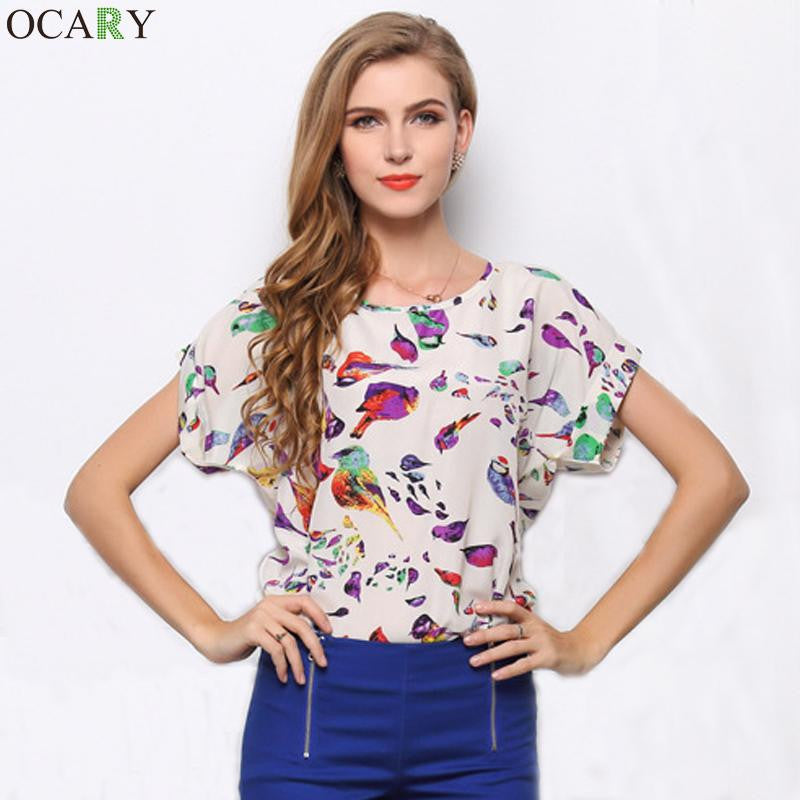 Tropical Chiffon Women Blouses