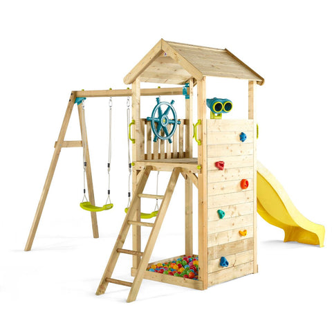 Plum Wooden Lookout Tower Colour Pop Play Centre with Swing Set - Salsa and Gigi Australia 01