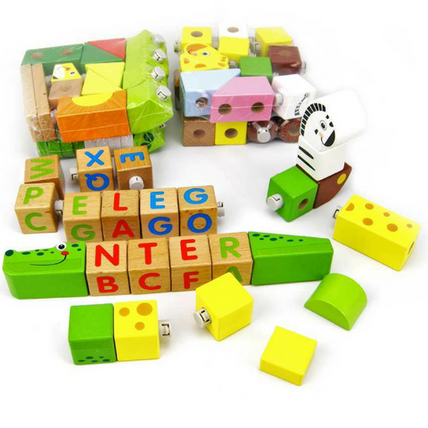Classic Wooden Baby & Toddler Toy Blocks - Forest Animals 80 Pieces - Salsa and Gigi