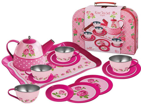Rose Tin Tea Set in Suitcase - Salsa and Gigi Online Store
