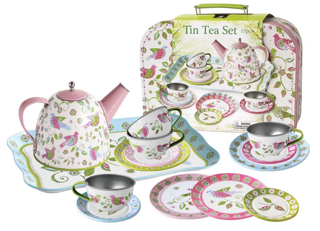 Bird Tin Tea Set Suitcase - Salsa and Gigi