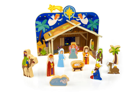 Christmas Wooden Nativity Scene - Salsa and Gigi