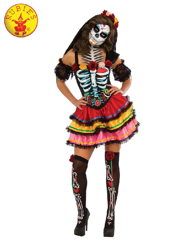 Day of the Dead Senorita Ladies Costume - Adult Sizes, S, M, L, XL - Salsa and Gigi