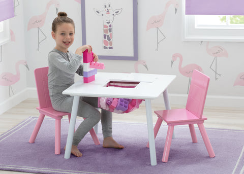 Delat Children Kids Table and Chair Set with Storage Pink - Salsa and Gigi Australia 01