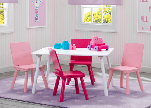 Delta Children Kids Table and 4 Chair Set - White Pink Salsa and Gigi Australia