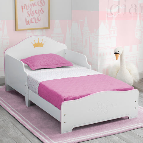 Delta Children Princess Crown Kids Wood Toddler Bed - Salsa and Gigi Australia