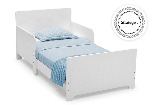 Delta Children MySize Wood Toddler Bed - White (Rectangle Edge) - Salsa and Gigi Australia