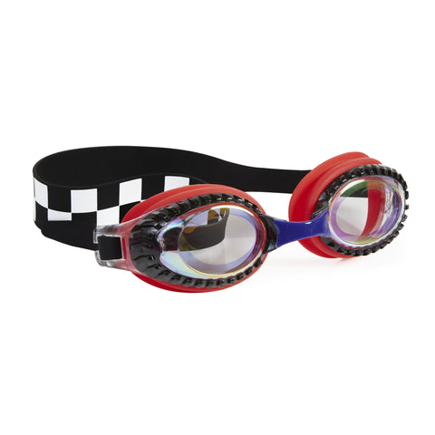 Drag Race Chevy Red Checkerboard Boys Swim Goggles - Salsa and Gigi