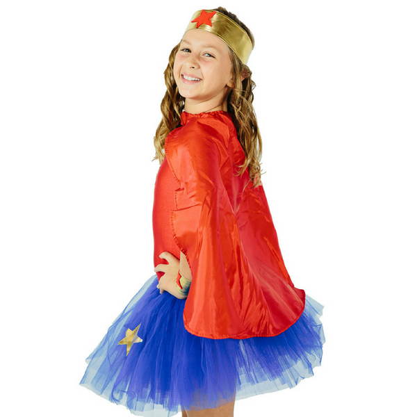fairy girls wonder woman blue and red tutu dress lasoo of truth and bracelets of victory super heros fighting crime