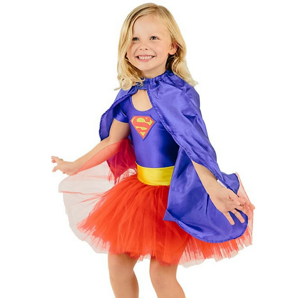 fairy girls super girl costume with supergirl cape fight crime as a super hero superheroine  sc 1 st  Salsa and Gigi & SuperGirl Tutu Costume in Blue and Red Female Superheros by Fairy ...