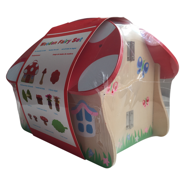 Fairy Toadstool Playset Wooden House in Travel Carry Case - Salsa and Gigi