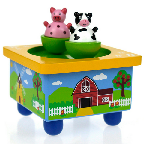 Wooden wind up Farm Music Box - Salsa and Gigi Australia