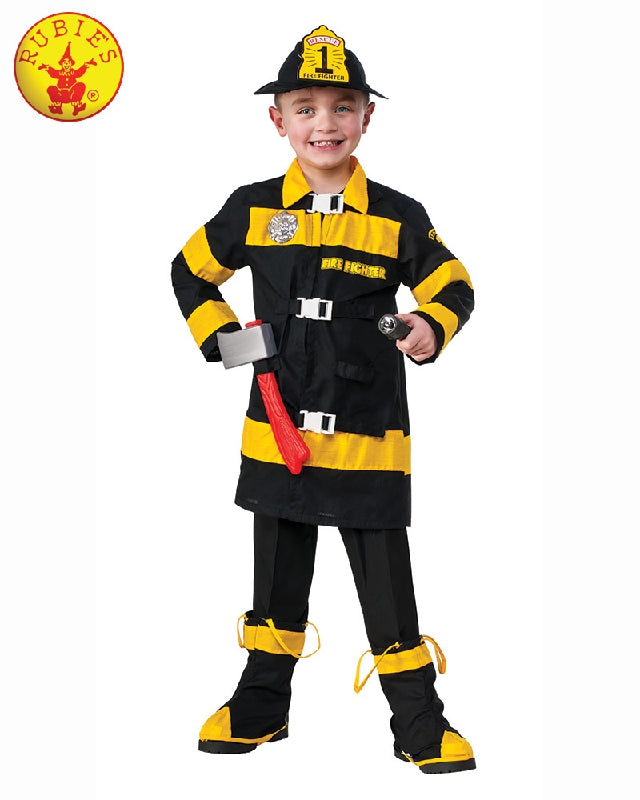 Fire Fighter Deluxe Boys Costume - Size S, L - Salsa and Gigi