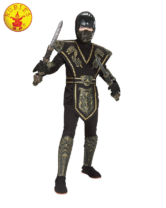 Gold Dragon Ninja Warrior Deluxe Boys Costume - Size S - Salsa and Gigi
