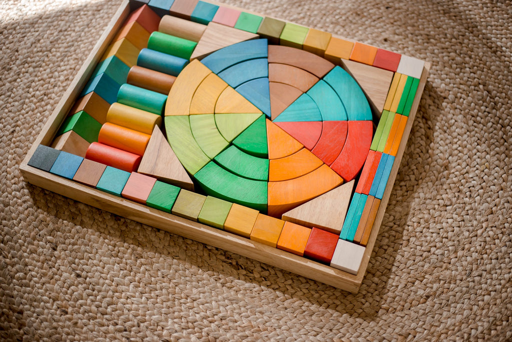 Jumbo Natural Rainbow Wooden Blocks 86 pcs Q Toys - Salsa and Gigi Australia 01