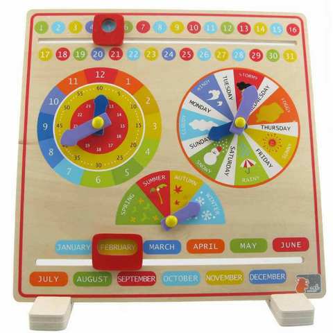 Classic Wooden Clock and Calendar Learning Board on Stand - Salsa and Gigi