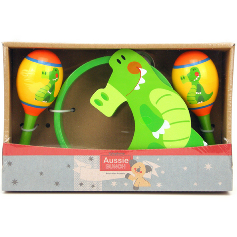 Maraca and Tambourine Toddler Music Set Cute Crocodile Design - Salsa and Gigi