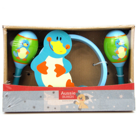 Maraca and Tambourine Toddler Music Set with Adorable Platypus - Salsa and Gigi