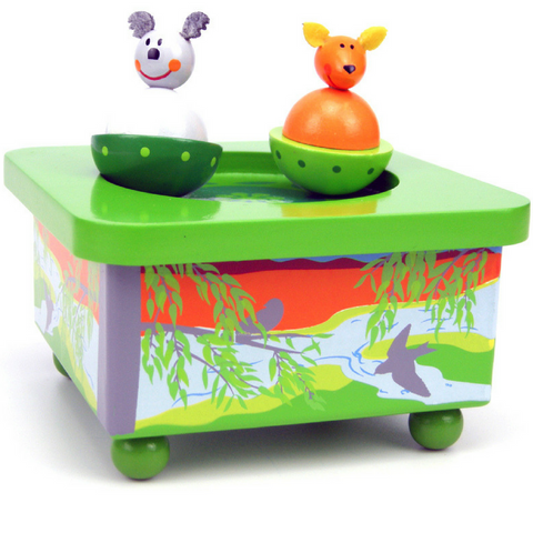 Aussie Bunch Wooden Wind Up Music Box - Koala & Kangaroo - Salsa and Gigi