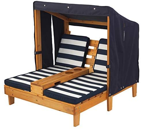 KidKraft Kids Double Chaise Lounge with Cup Holders - Honey with Navy & White Stripes - Salsa and Gigi Australia