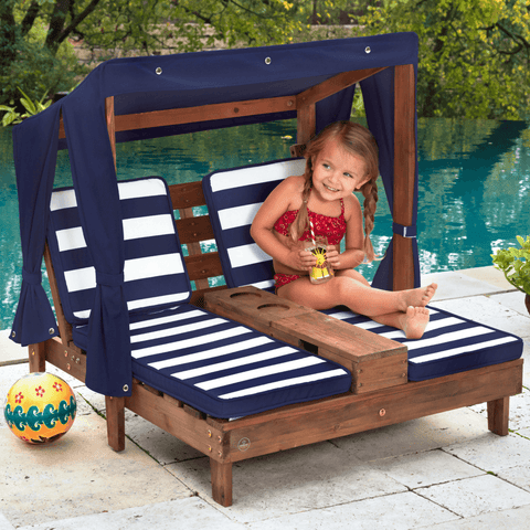KidKraft Kids Double Chaise Lounge With Cup Holders Navy Blue and White Stripes - Salsa and Gigi