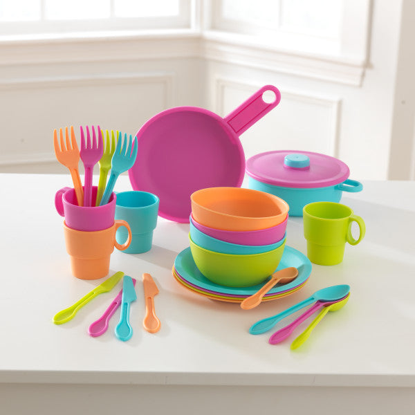 KidKraft 27-Piece Cookware Play Set - Brights - Salsa and Gigi Australia 01