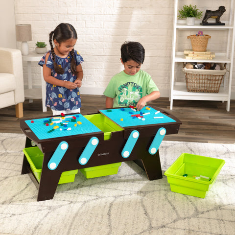 KidKraft Building Bricks Play N Store Table - Espresso - Salsa and Gigi Australia 01