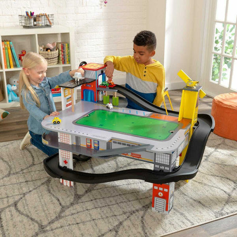 KidKraft Freeway Frenzy Raceway Play Set and Table with EZ Kraft Assembly™