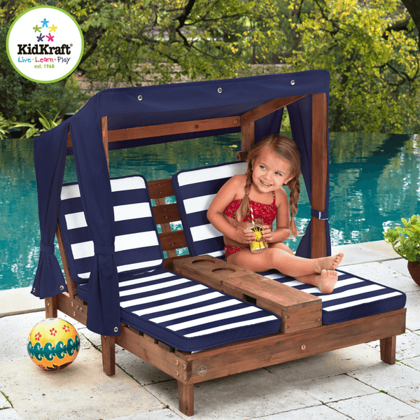 Kidkraft double chaise lounge espresso and navy 00535 - Lounger for the garden crossword ...