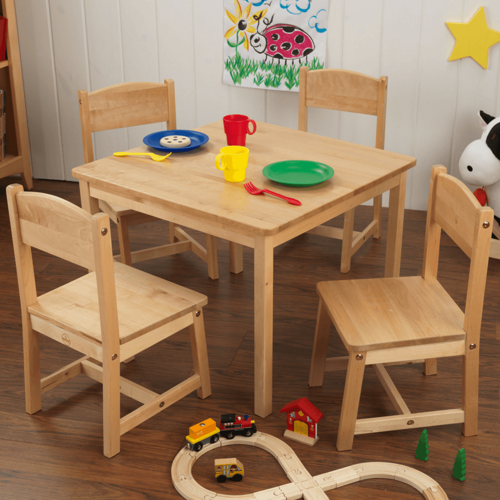 Farmhouse Table and 4 Chair Set - Natural - Salsa and Gigi