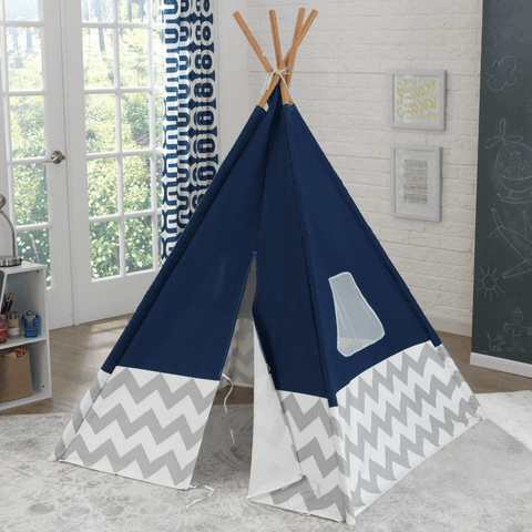 Deluxe Play TeePee - Navy and Grey Chevron - Salsa and Gigi