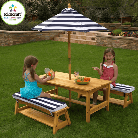 Outdoor Table and Bench Set with Cushions and Umbrella - Navy - Salsa and Gigi