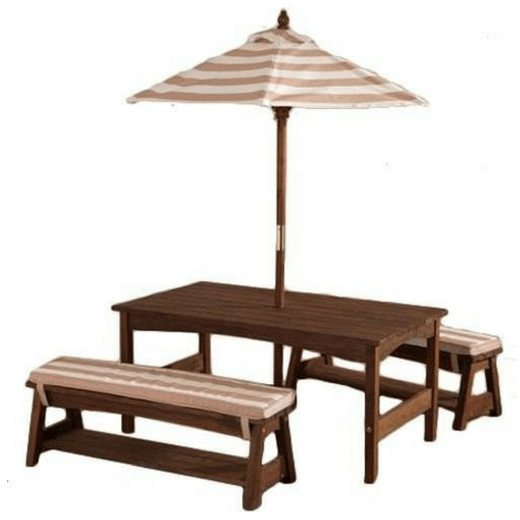 Outdoor Table And Bench Set Cushions Umbrella Oatmeal And