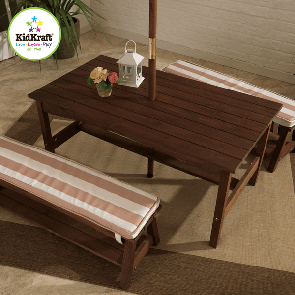 Outdoor Table and Bench Set with Cushions and Umbrella - Oatmeal and White Stripes - Salsa and Gigi