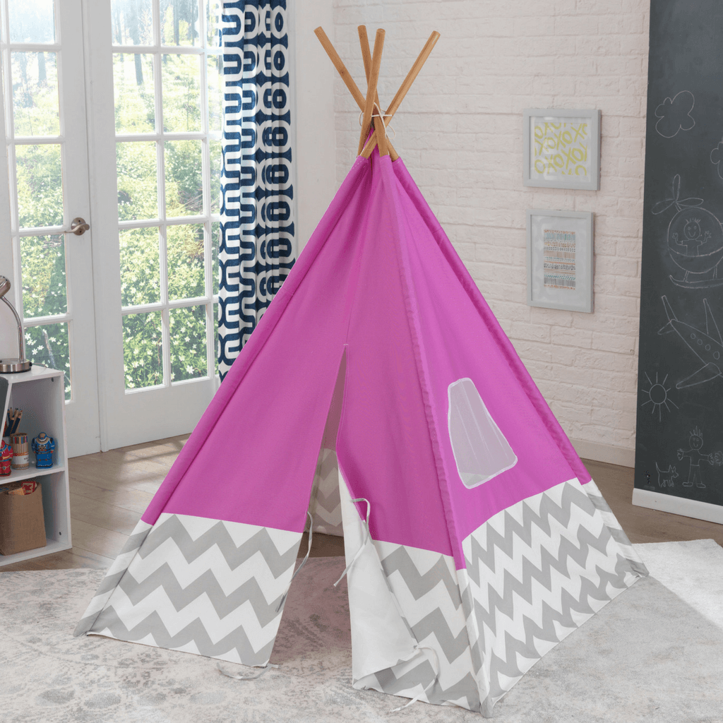 Deluxe Play TeePee - Pink and Grey Chevron - Salsa and Gigi