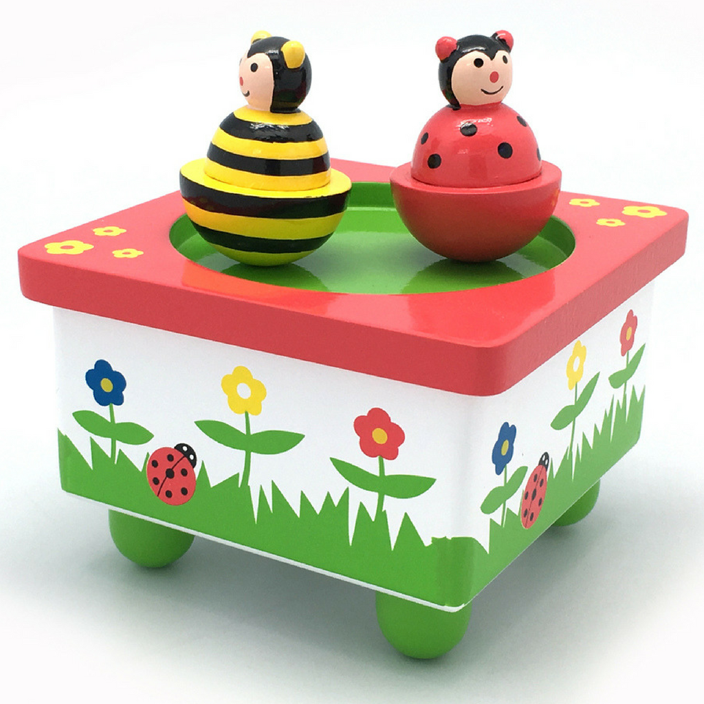 Wooden wind up Ladybird and Bee Music Box - Salsa and Gigi Australia