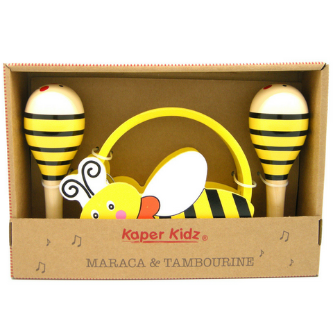 Maraca and Tambourine Toddler Music Set Bumble Bee Design - Salsa and Gigi
