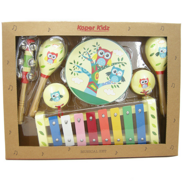 Owl Wooden 7 Piece Music Set - Salsa and Gigi