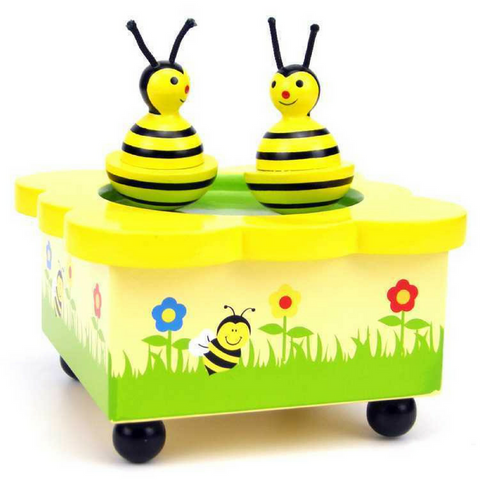 Bumble Bees Wooden Wind Up Music Box - Salsa and Gigi