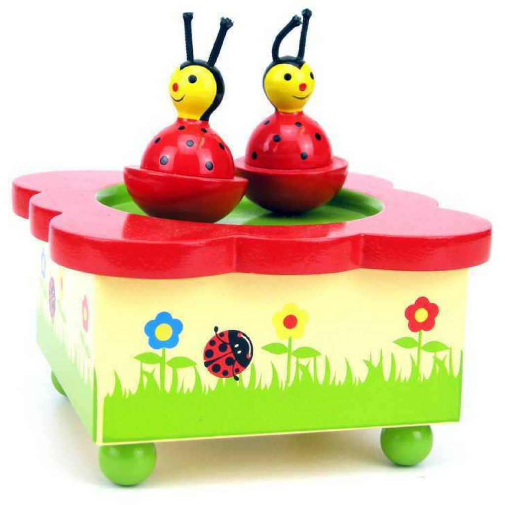 Ladybird Wooden Wind Up Music Box - Salsa and Gigi