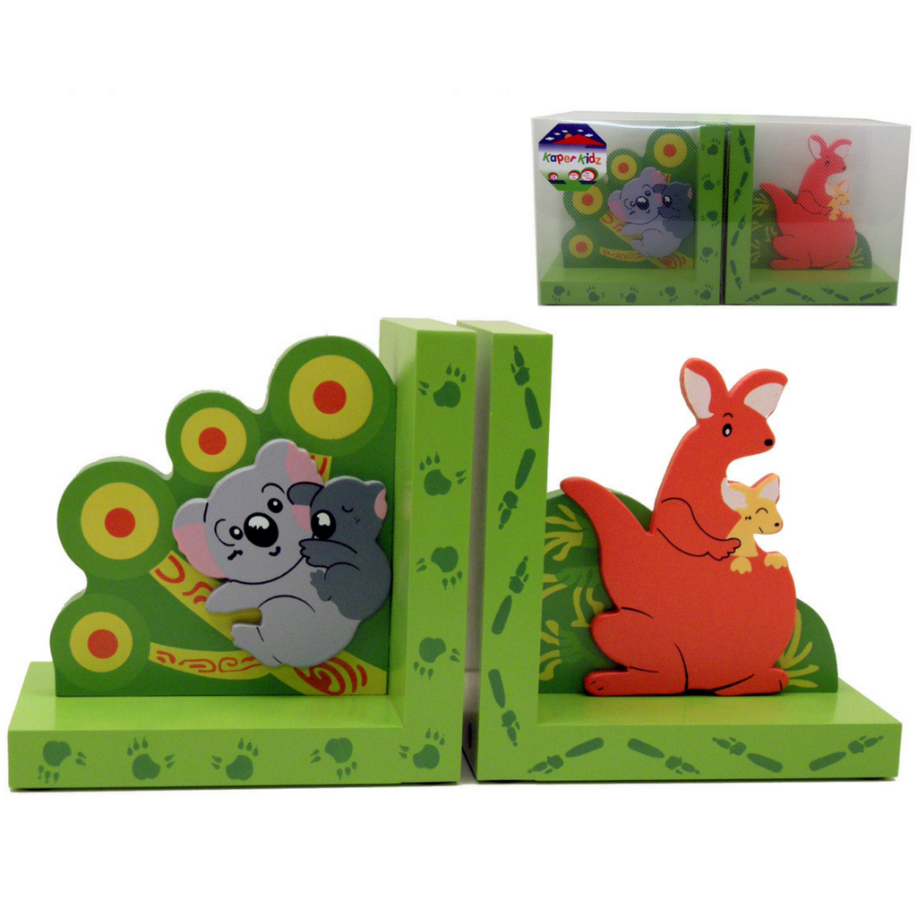 kaper kidz wooden bookends koala kangaroo kids bedroom decor
