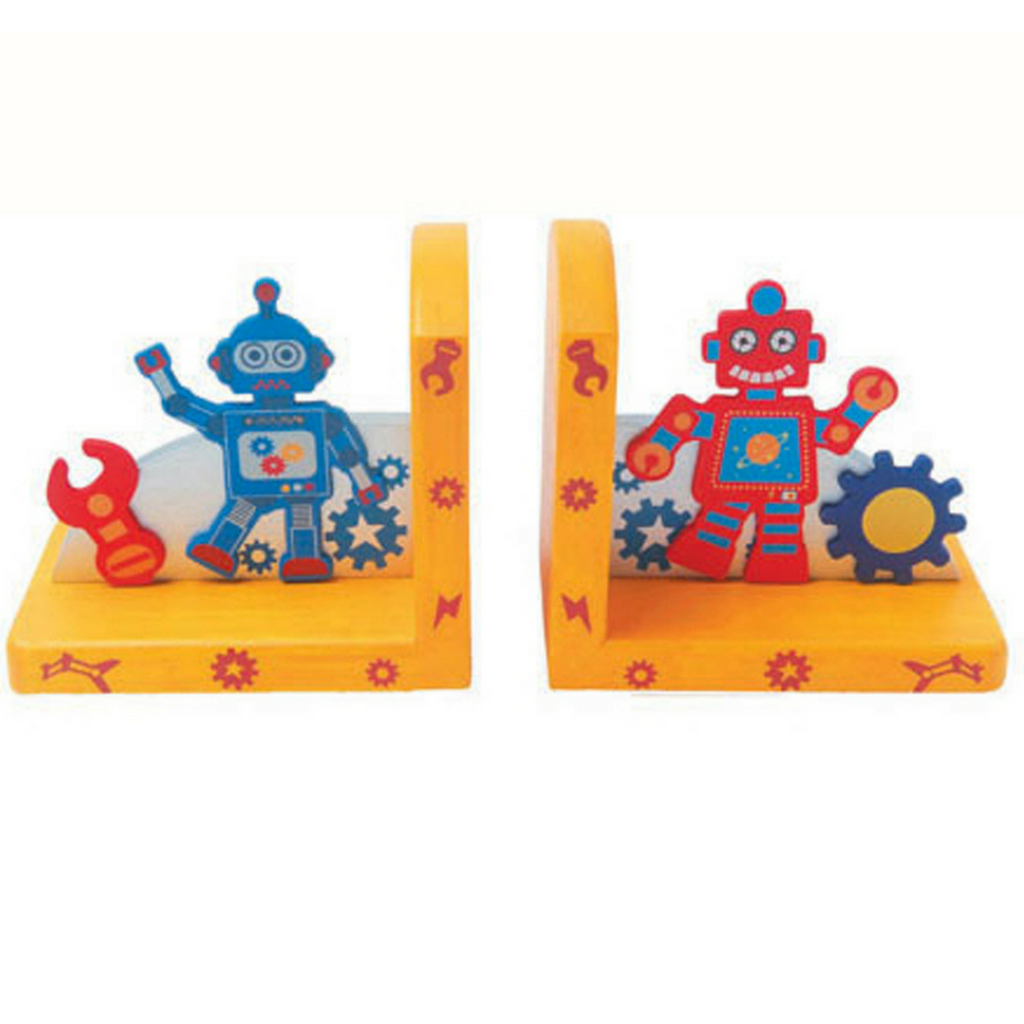 kaper kidz wooden bookends robot design pretty bedroom nursery decor for kids and toddlers