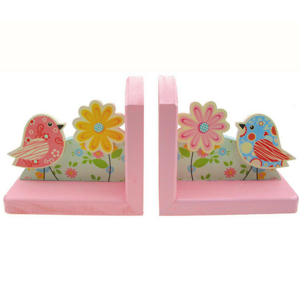 kaper kidz pink bookends chirpy bird and flowers wooden