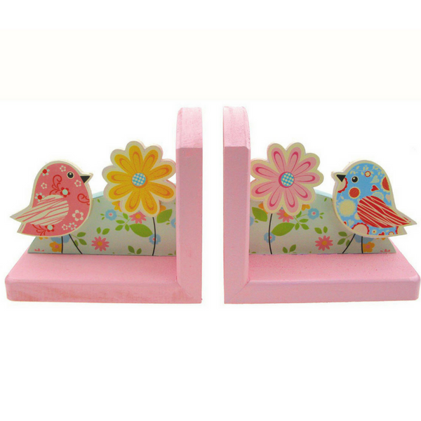 Wooden Bookends Birds And Flowers Baby Nursery Decor By